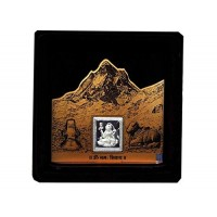 Lord Ganesh Wooden Frame With Pure Silver Coin Of 7 Grams